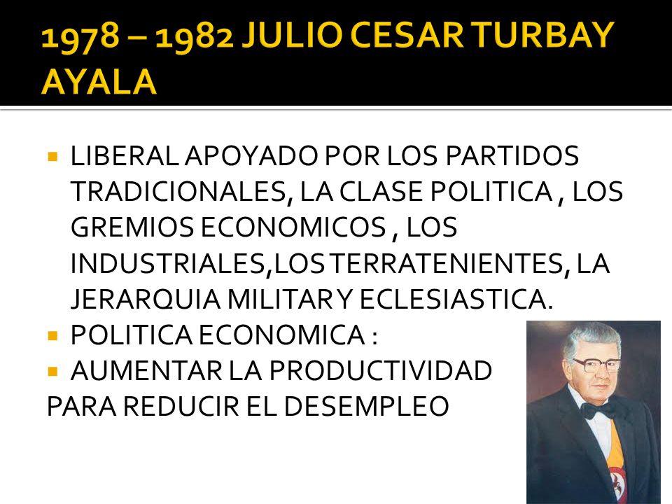 LIBERAL APOYADO POR LOS PARTIDOS TRADICIONALES, LA CLASE POLITICA, LOS GREMIOS ECONOMICOS, LOS INDUSTRIALES,LOS TERRATENIENTES, LA JERARQUIA MILITAR Y