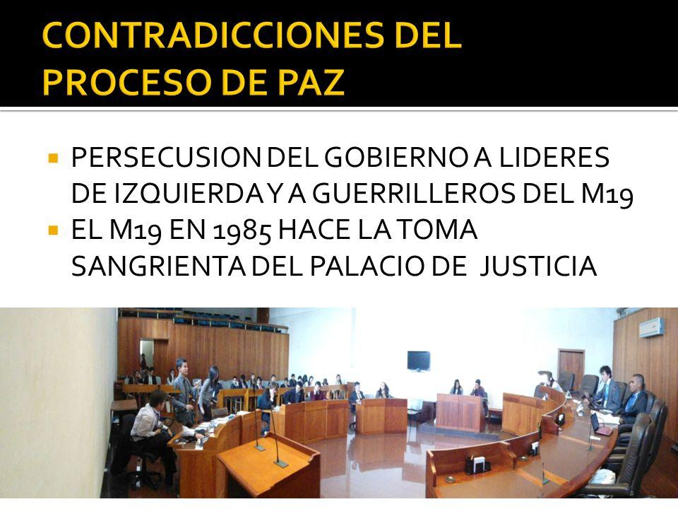 PERSECUSION DEL GOBIERNO A LIDERES DE IZQUIERDA Y A GUERRILLEROS DEL M19 EL M19 EN 1985 HACE LA TOMA SANGRIENTA DEL PALACIO DE JUSTICIA