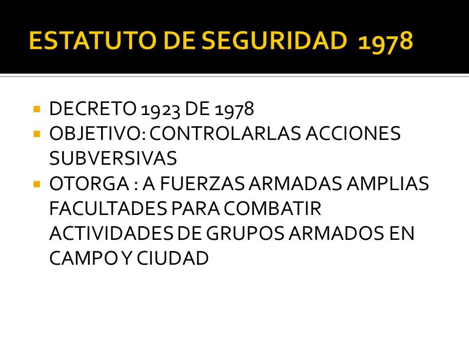 DECRETO 1923 DE 1978 OBJETIVO: CONTROLARLAS ACCIONES SUBVERSIVAS OTORGA : A FUERZAS ARMADAS AMPLIAS FACULTADES PARA COMBATIR ACTIVIDADES DE GRUPOS ARM