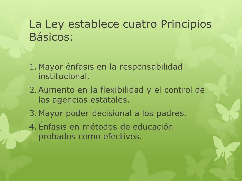 La Ley establece cuatro Principios Básicos: 1.Mayor énfasis en la responsabilidad institucional.