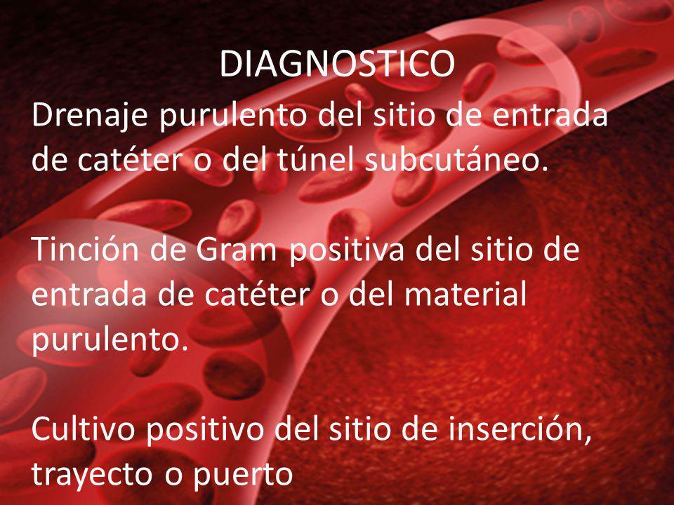 Drenaje purulento del sitio de entrada de catéter o del túnel subcutáneo. Tinción de Gram positiva del sitio de entrada de catéter o del material puru