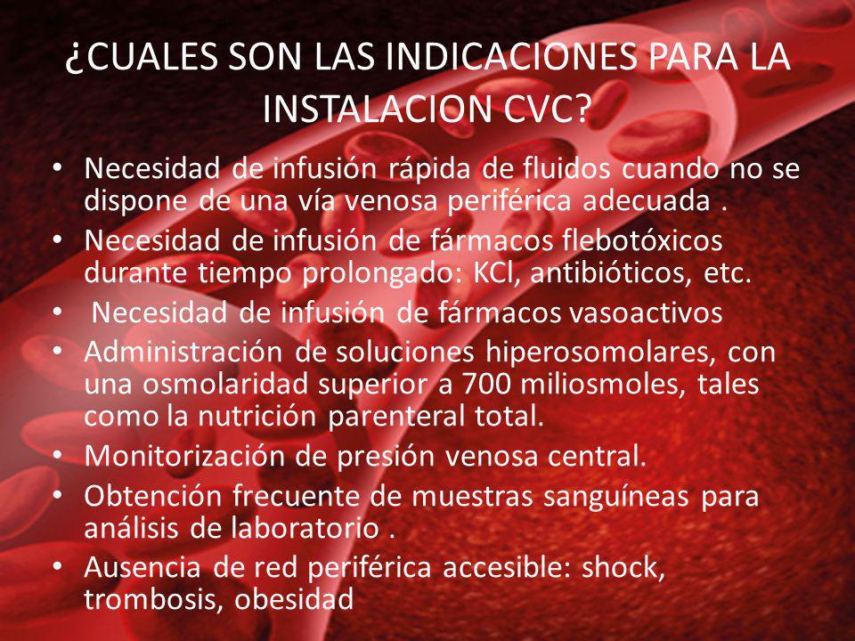 ¿ CUALES SON LAS INDICACIONES PARA LA INSTALACION CVC? Necesidad de infusión rápida de fluidos cuando no se dispone de una vía venosa periférica adecu