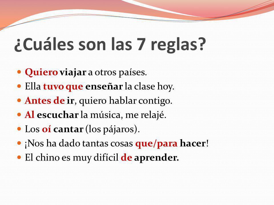 #1: Verbo conjugado + infinitivo #2: Verbo conjugado + preposición + infinitivo #3: Después de preposiciones #4: Al + infinitivo #5: Verbo de percepción + infinitivo #6: que + infinitivo #7: Adjetivo + de + infinitivo Unas ideas…