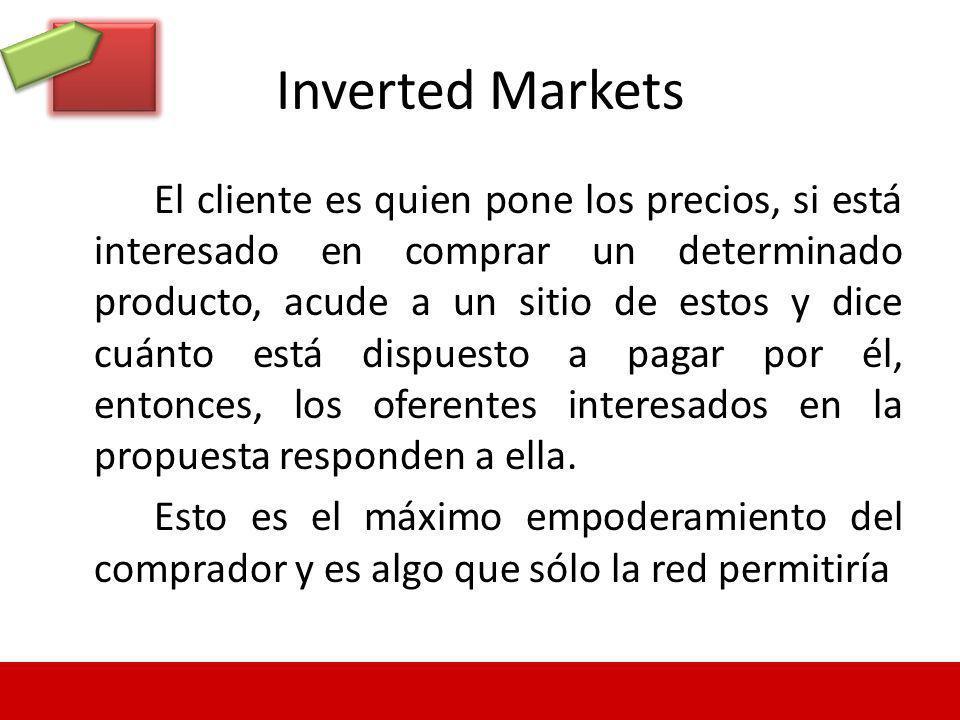 Inverted Markets El cliente es quien pone los precios, si está interesado en comprar un determinado producto, acude a un sitio de estos y dice cuánto
