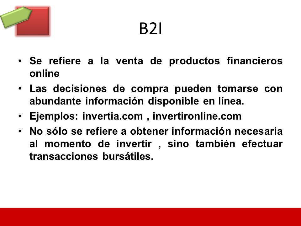 B2I Se refiere a la venta de productos financieros online Las decisiones de compra pueden tomarse con abundante información disponible en línea. Ejemp