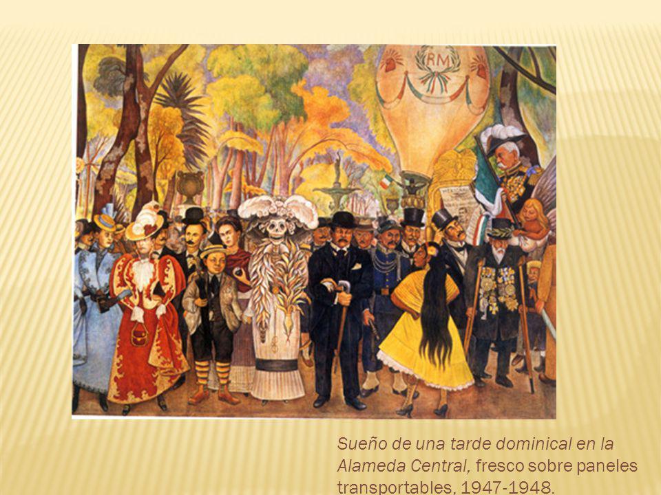 Sueño de una tarde dominical en la Alameda Central, fresco sobre paneles transportables, 1947-1948.