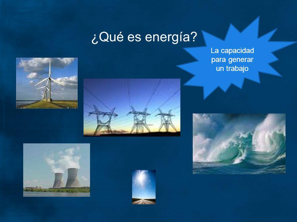¿Qué es energía? La capacidad para generar un trabajo