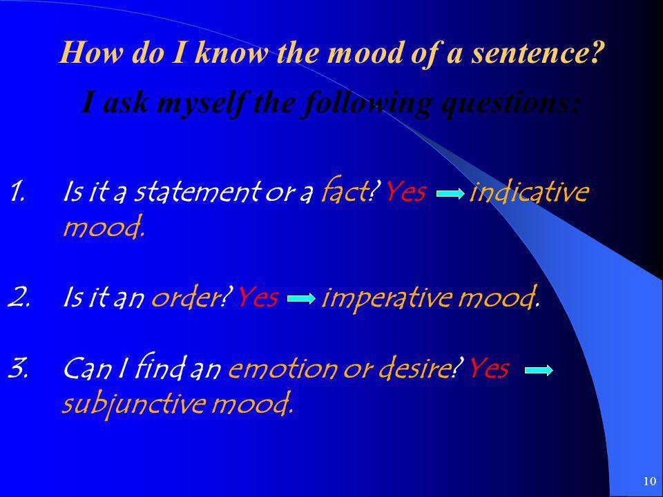 9 El Modo Indicativo El Modo Imperativo El Modo Subjuntivo Presente Pretérito Imperfecto Pasado participio Pluscuamperfecto Presente Pretérito Imperfe