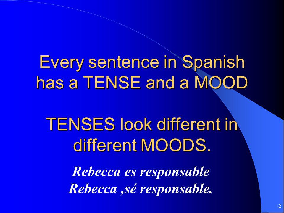 Every sentence in Spanish has a TENSE and a MOOD TENSES look different in different MOODS.