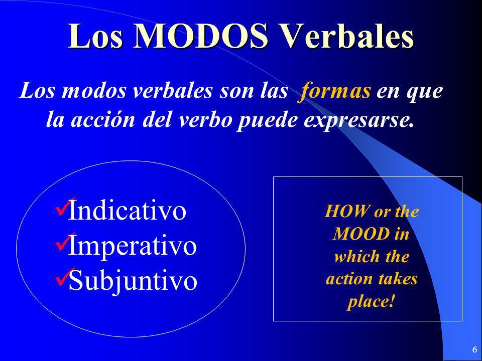 6 Los MODOS Verbales Los modos verbales son las formas en que la acción del verbo puede expresarse.