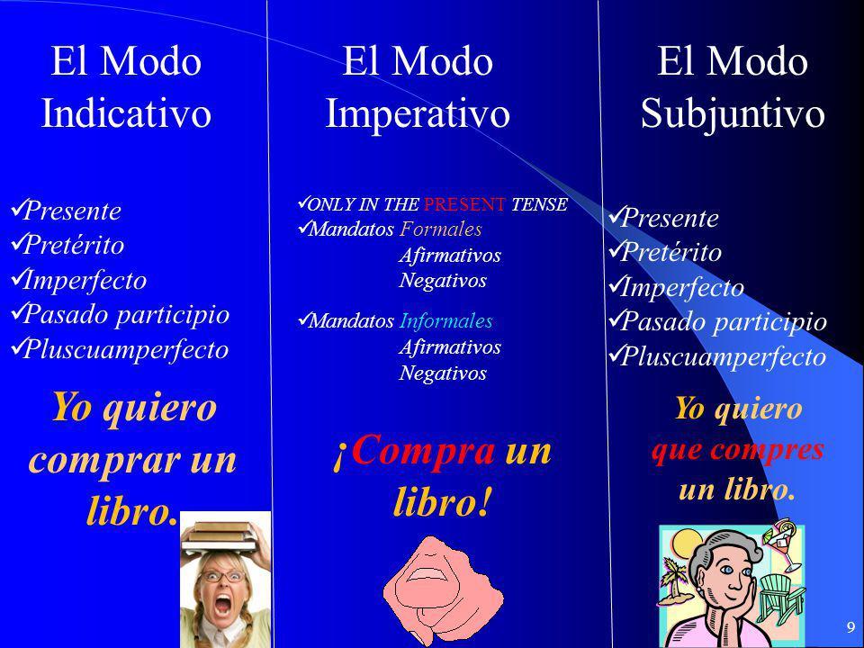 Los Modos Verbales 8 Habla de HECHOS. (Facts and Statements) El Modo Indicativo Habla de ORDENES El Modo Imperativo Habla de las EMOCIONES, los DESEOS