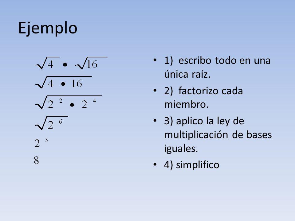 Ejemplo 1) escribo todo en una única raíz. 2) factorizo cada miembro. 3) aplico la ley de multiplicación de bases iguales. 4) simplifico