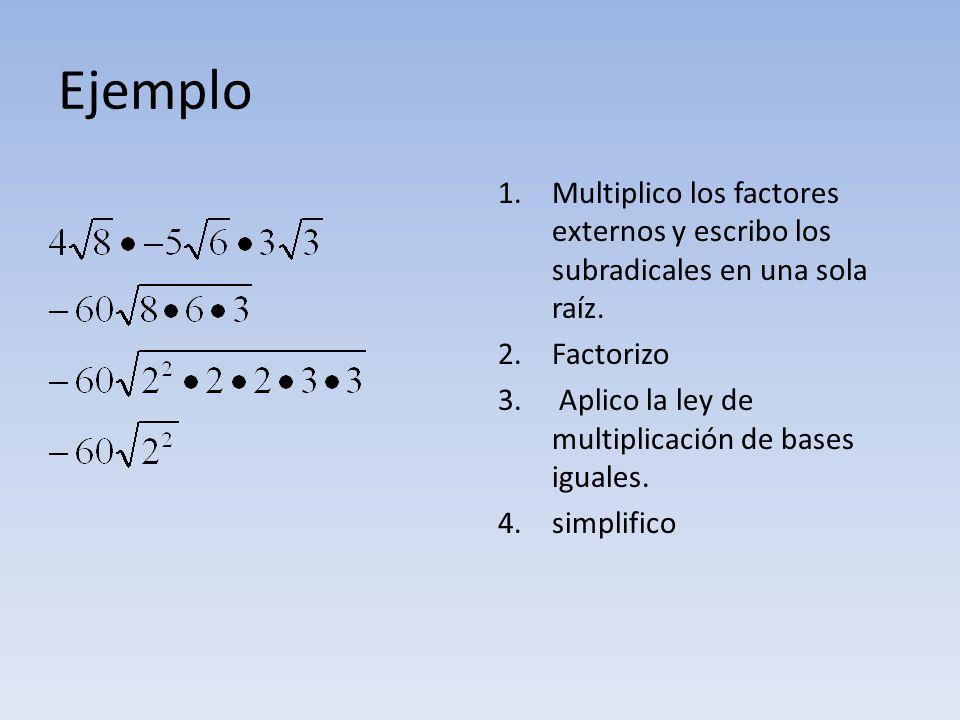 Ejemplo 1.Multiplico los factores externos y escribo los subradicales en una sola raíz. 2.Factorizo 3. Aplico la ley de multiplicación de bases iguale