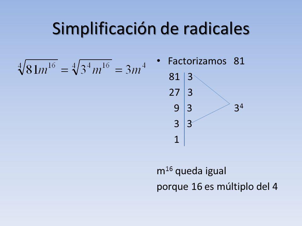 Simplificación de radicales Factorizamos 81 81 3 27 3 9 3 3 4 3 3 1 m 16 queda igual porque 16 es múltiplo del 4