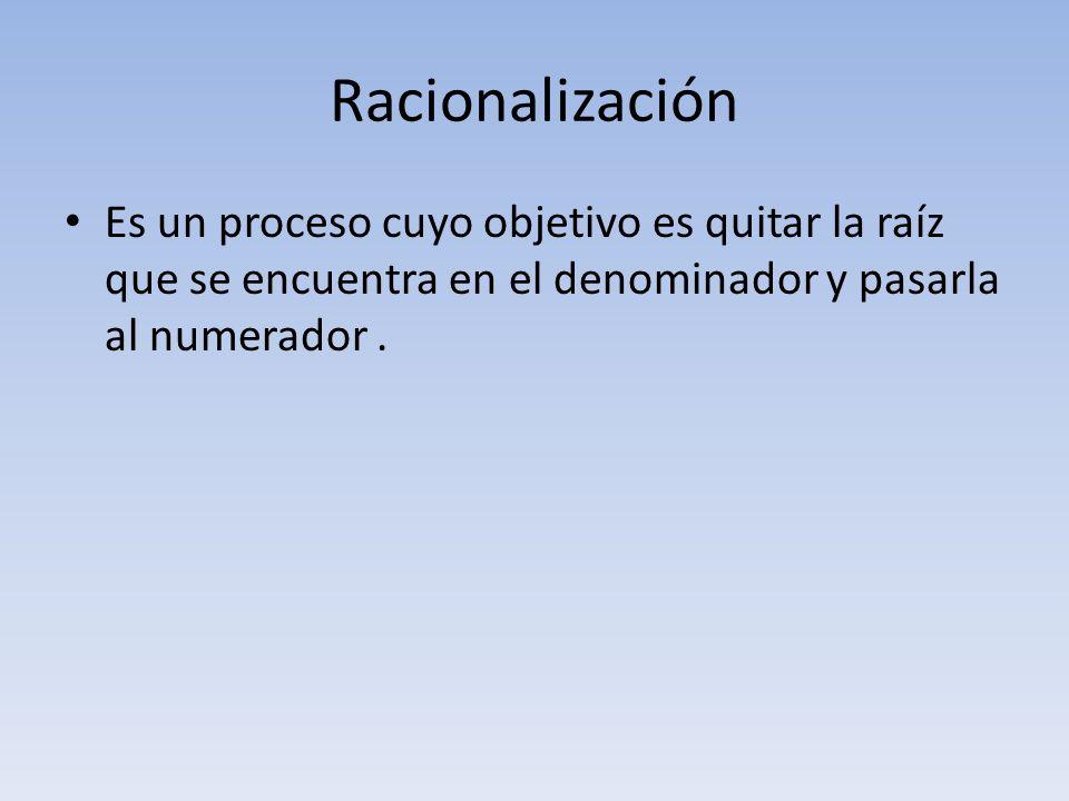 Racionalización Es un proceso cuyo objetivo es quitar la raíz que se encuentra en el denominador y pasarla al numerador.