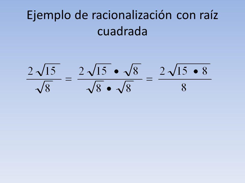 Ejemplo de racionalización con raíz cuadrada