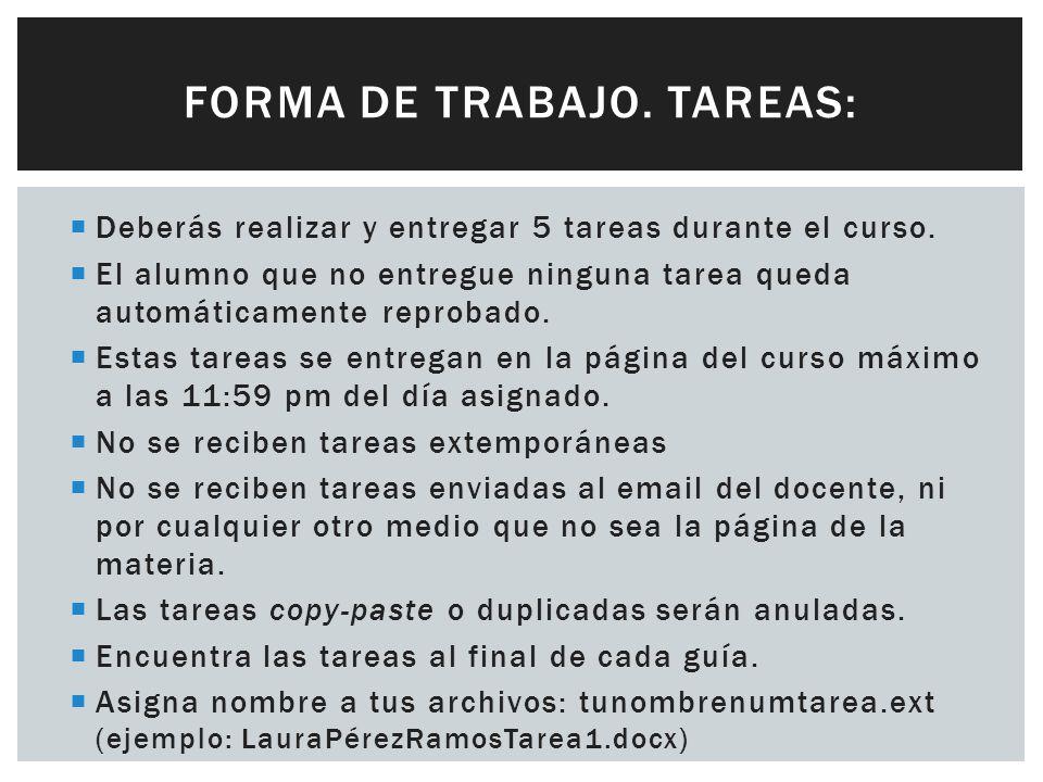 FORMA DE TRABAJO. TAREAS: Deberás realizar y entregar 5 tareas durante el curso.