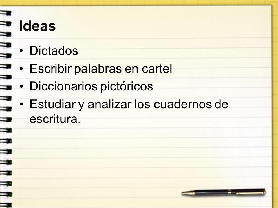 Ideas Dictados Escribir palabras en cartel Diccionarios pictóricos Estudiar y analizar los cuadernos de escritura.