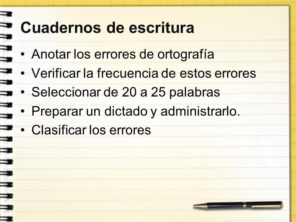 Cuadernos de escritura Anotar los errores de ortografía Verificar la frecuencia de estos errores Seleccionar de 20 a 25 palabras Preparar un dictado y