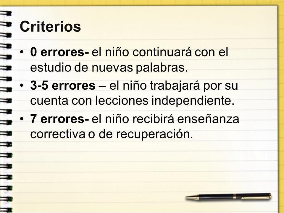 Criterios 0 errores- el niño continuará con el estudio de nuevas palabras. 3-5 errores – el niño trabajará por su cuenta con lecciones independiente.
