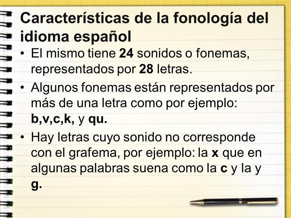 Características de la fonología del idioma español El mismo tiene 24 sonidos o fonemas, representados por 28 letras. Algunos fonemas están representad