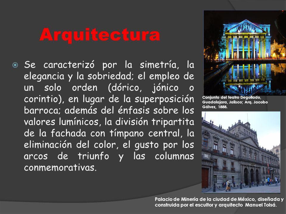 Conjunto del teatro Degollado, Guadalajara, Jalisco; Arq. Jacobo Gálvez, 1888. Palacio de Minería de la ciudad de México, diseñada y construida por el