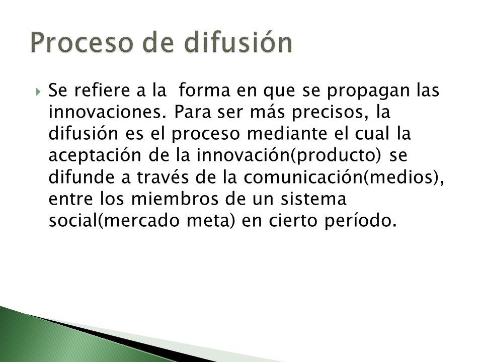 Se refiere a la forma en que se propagan las innovaciones. Para ser más precisos, la difusión es el proceso mediante el cual la aceptación de la innov