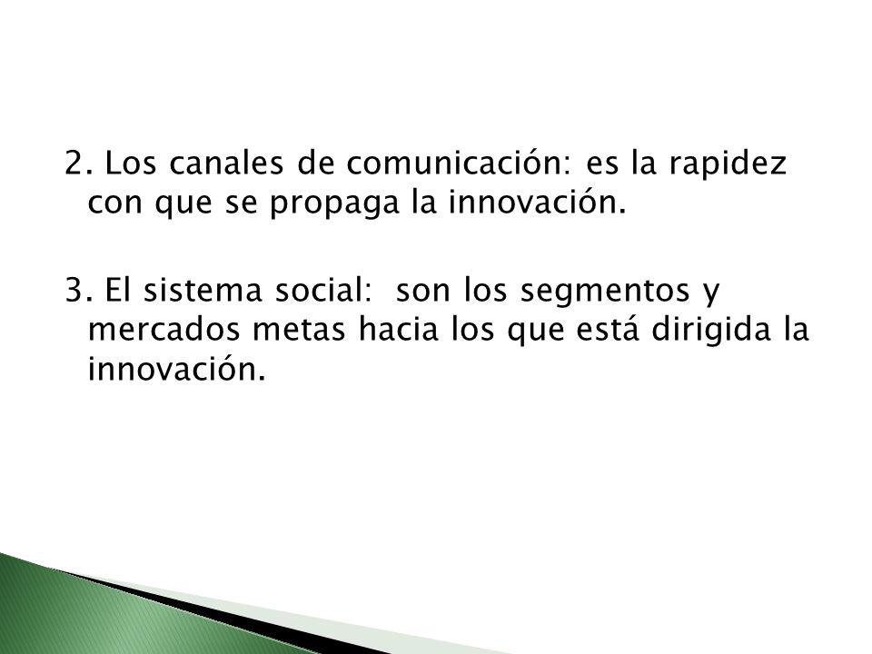 2. Los canales de comunicación: es la rapidez con que se propaga la innovación. 3. El sistema social: son los segmentos y mercados metas hacia los que