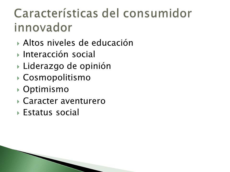Altos niveles de educación Interacción social Liderazgo de opinión Cosmopolitismo Optimismo Caracter aventurero Estatus social