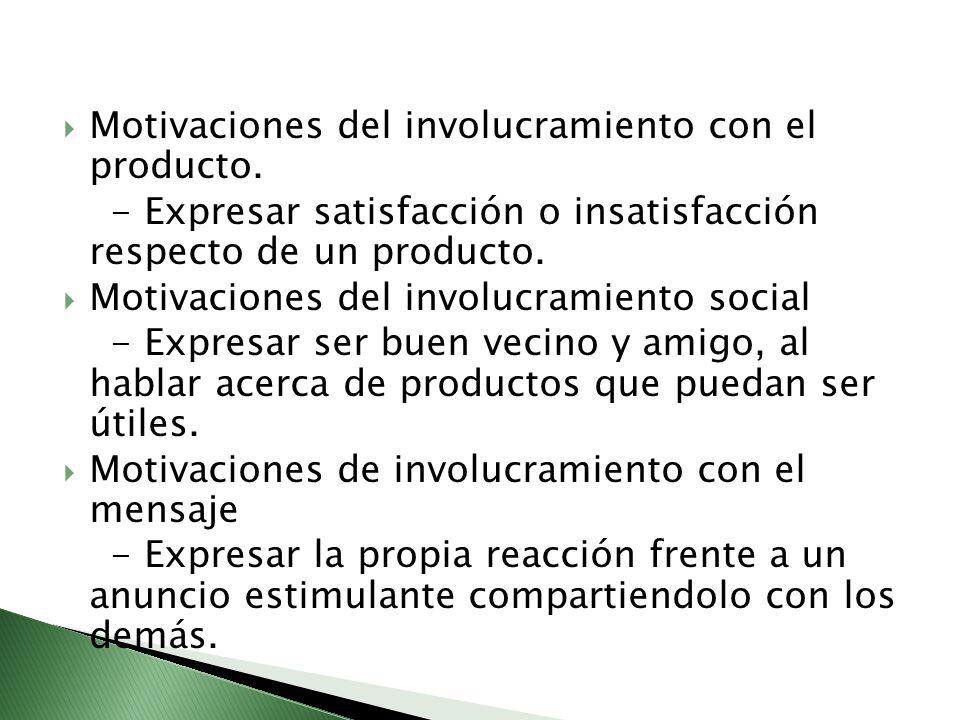 Motivaciones del involucramiento con el producto. - Expresar satisfacción o insatisfacción respecto de un producto. Motivaciones del involucramiento s