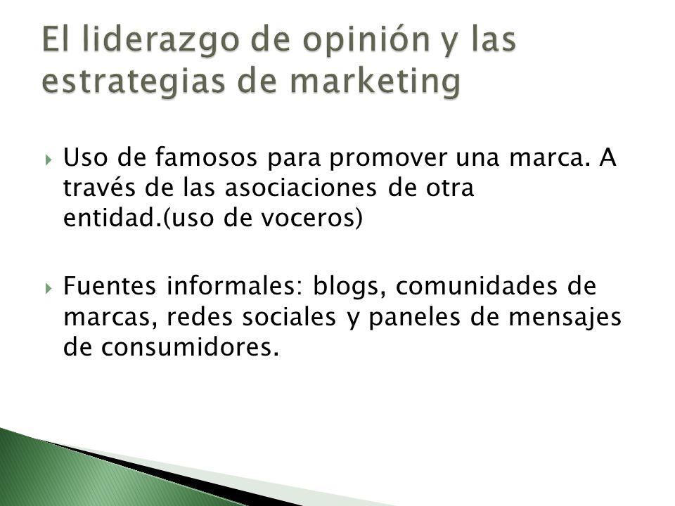 Uso de famosos para promover una marca. A través de las asociaciones de otra entidad.(uso de voceros) Fuentes informales: blogs, comunidades de marcas