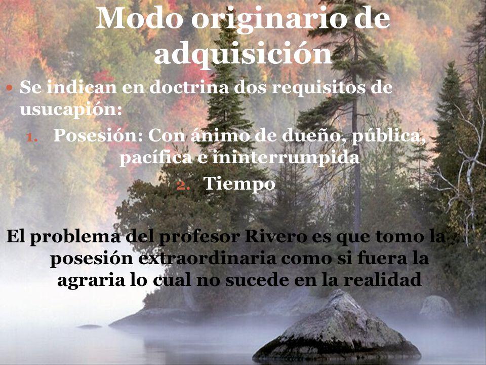 Modo originario de adquisición Se indican en doctrina dos requisitos de usucapión: 1.