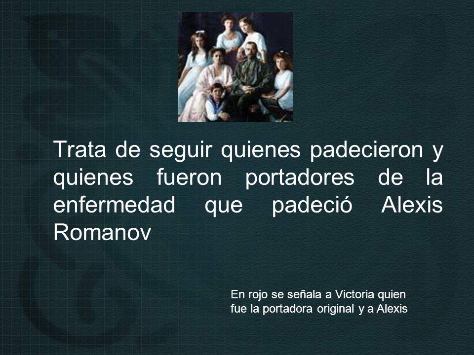 Trata de seguir quienes padecieron y quienes fueron portadores de la enfermedad que padeció Alexis Romanov En rojo se señala a Victoria quien fue la portadora original y a Alexis