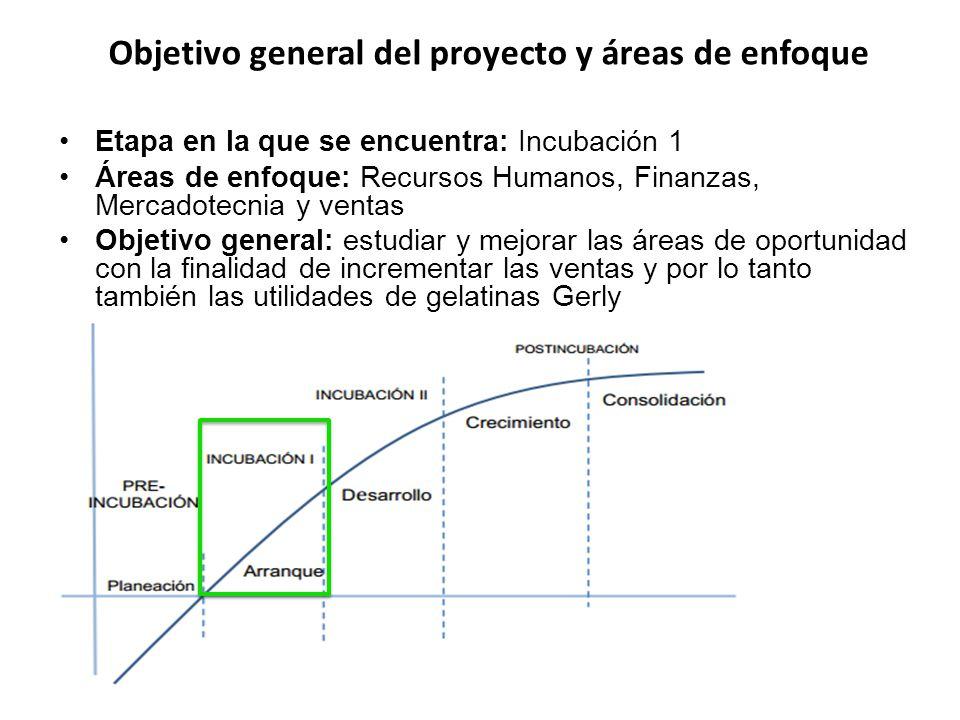 Etapa en la que se encuentra: Incubación 1 Áreas de enfoque: Recursos Humanos, Finanzas, Mercadotecnia y ventas Objetivo general: estudiar y mejorar l