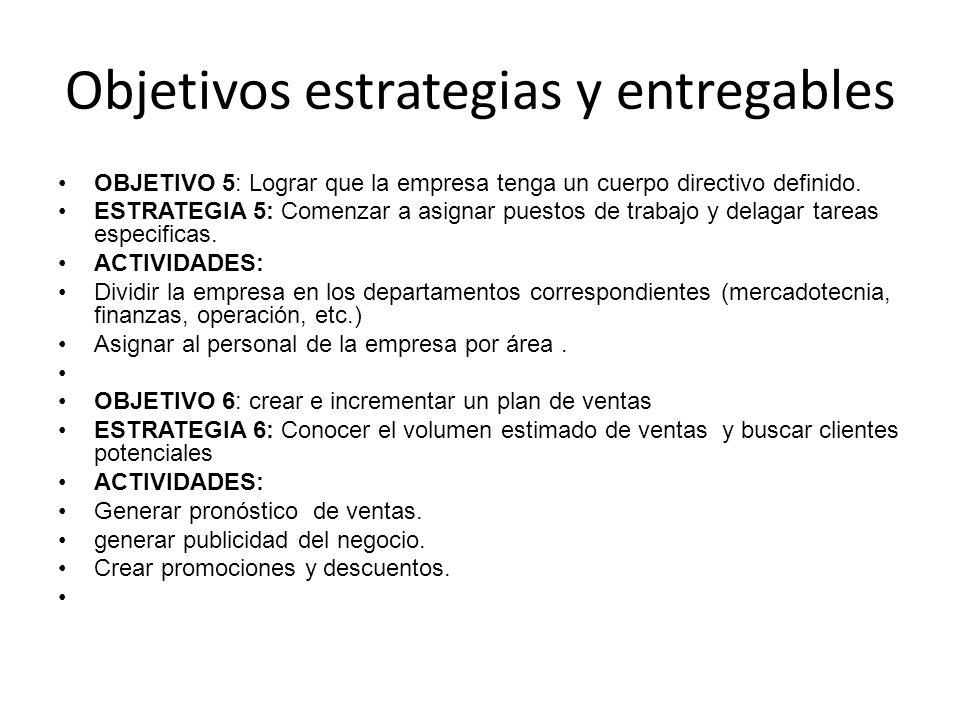 OBJETIVO 5: Lograr que la empresa tenga un cuerpo directivo definido. ESTRATEGIA 5: Comenzar a asignar puestos de trabajo y delagar tareas especificas
