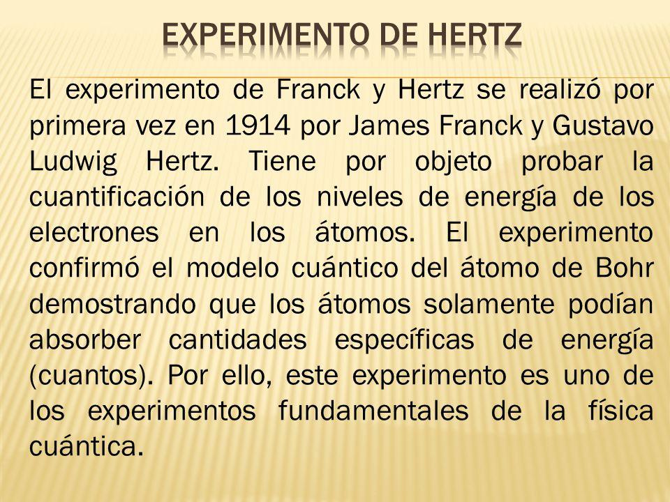 El experimento de Franck y Hertz se realizó por primera vez en 1914 por James Franck y Gustavo Ludwig Hertz. Tiene por objeto probar la cuantificación