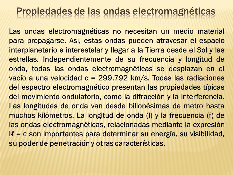 Las ondas electromagnéticas no necesitan un medio material para propagarse. Así, estas ondas pueden atravesar el espacio interplanetario e interestela