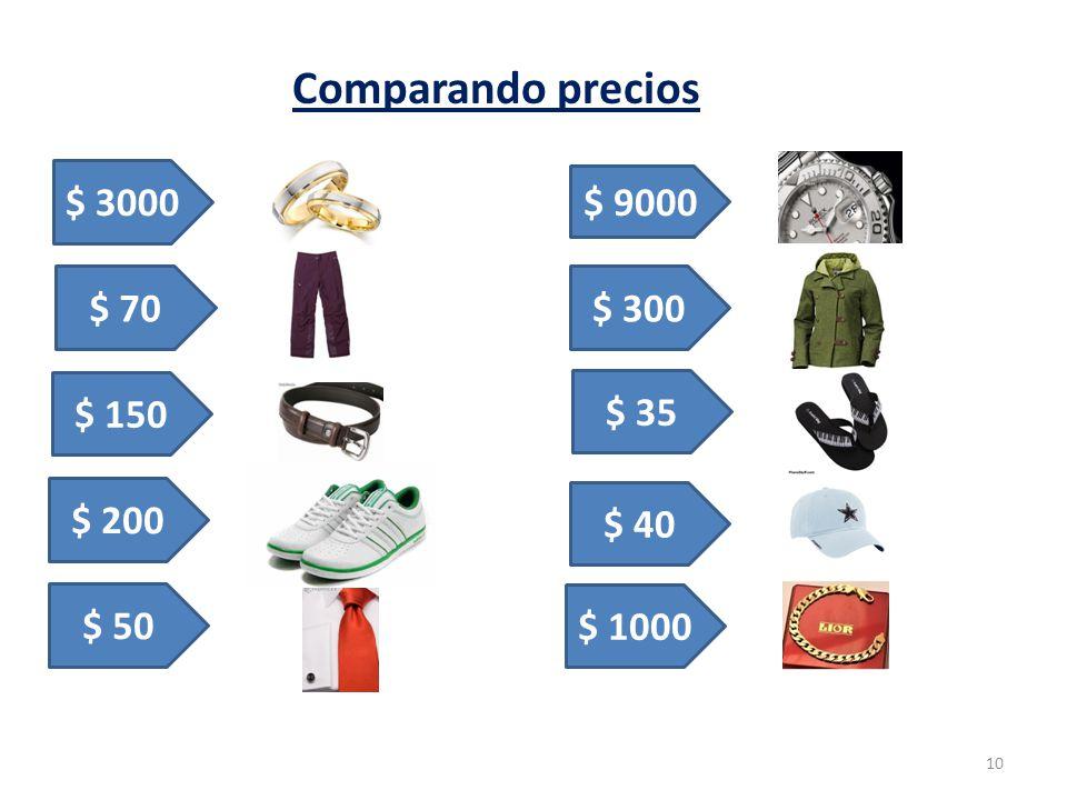Comparando precios 10 $ 3000 $ 70 $ 200 $ 150 $ 9000 $ 50 $ 40 $ 35 $ 300 $ 1000