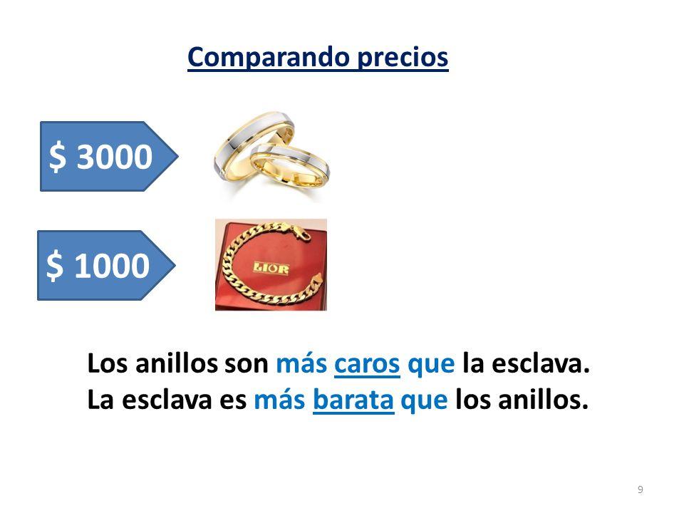 Comparando precios 9 $ 3000 $ 1000 Los anillos son más caros que la esclava. La esclava es más barata que los anillos.