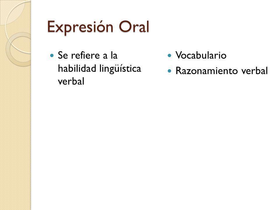 Expresión Oral Se refiere a la habilidad lingüística verbal Vocabulario Razonamiento verbal
