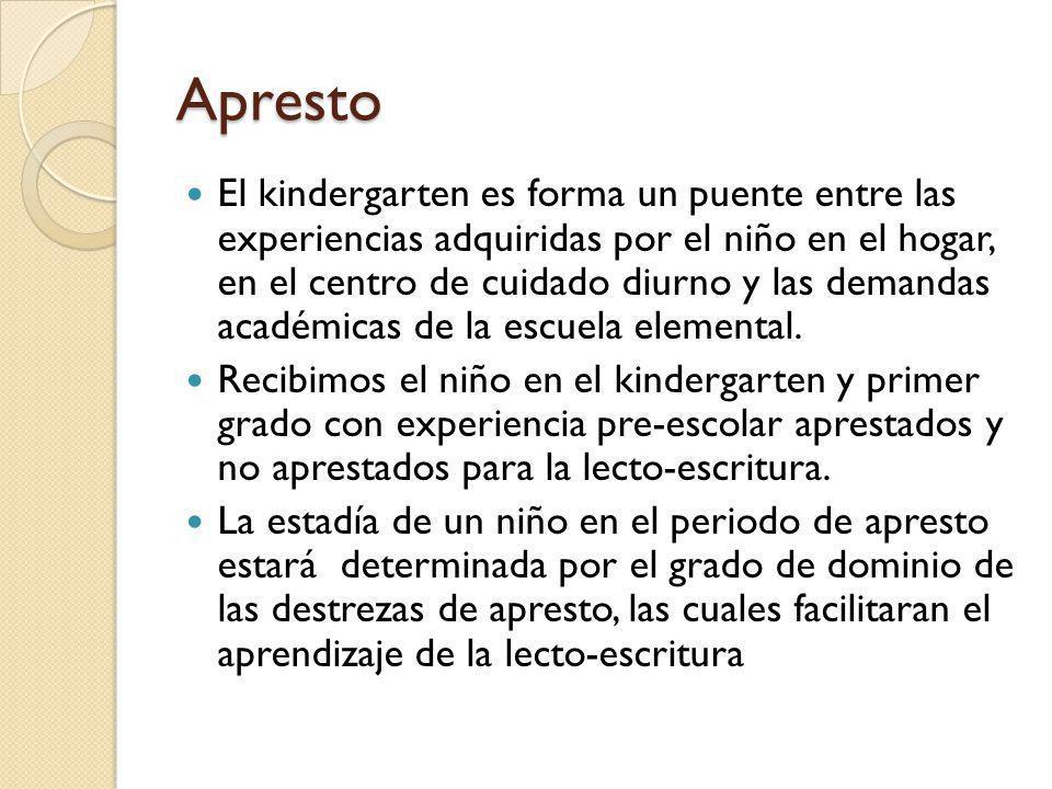 Apresto El kindergarten es forma un puente entre las experiencias adquiridas por el niño en el hogar, en el centro de cuidado diurno y las demandas ac