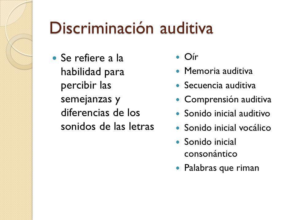 Discriminación auditiva Se refiere a la habilidad para percibir las semejanzas y diferencias de los sonidos de las letras Oír Memoria auditiva Secuenc