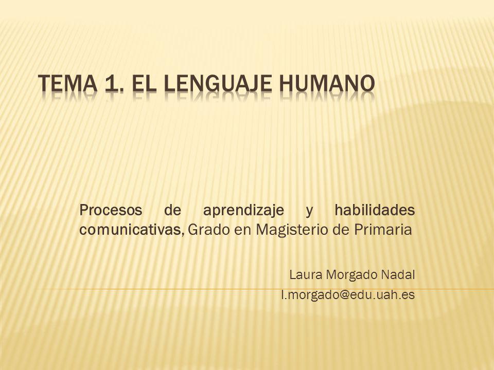 Procesos de aprendizaje y habilidades comunicativas, Grado en Magisterio de Primaria Laura Morgado Nadal l.morgado@edu.uah.es