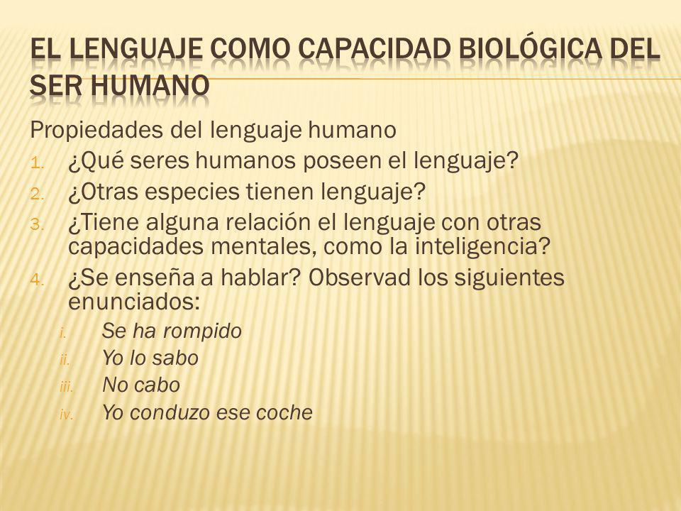 Propiedades del lenguaje humano 1.¿Qué seres humanos poseen el lenguaje.