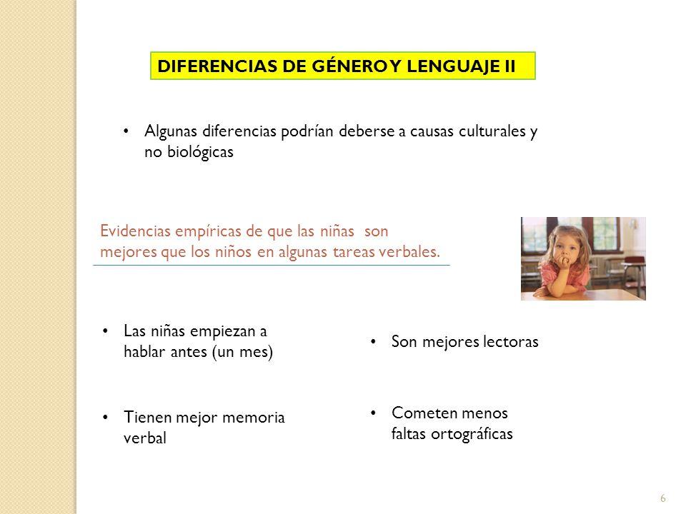 DIFERENCIAS DE GÉNERO Y LENGUAJE III Los varones muestran mayor lateralización que las mujeres.