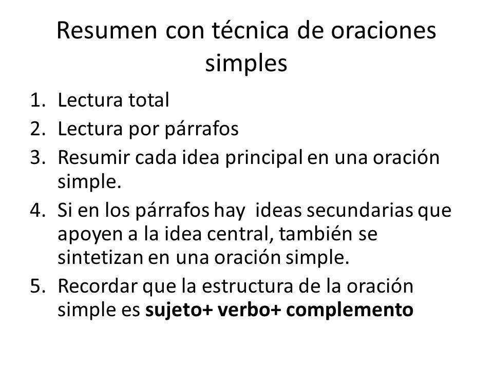 Resumen con técnica de oraciones simples 1.Lectura total 2.Lectura por párrafos 3.Resumir cada idea principal en una oración simple. 4.Si en los párra