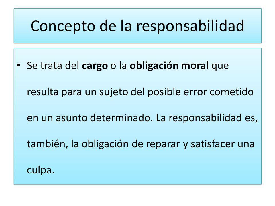 Concepto de la responsabilidad Se trata del cargo o la obligación moral que resulta para un sujeto del posible error cometido en un asunto determinado