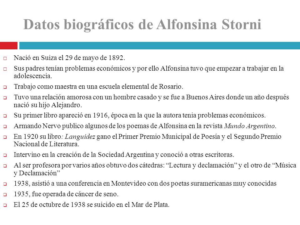 Datos biográficos de Alfonsina Storni Nació en Suiza el 29 de mayo de 1892. Sus padres tenían problemas económicos y por ello Alfonsina tuvo que empez