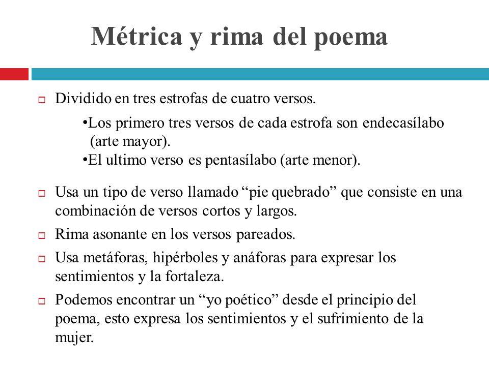 Métrica y rima del poema Dividido en tres estrofas de cuatro versos. Usa un tipo de verso llamado pie quebrado que consiste en una combinación de vers
