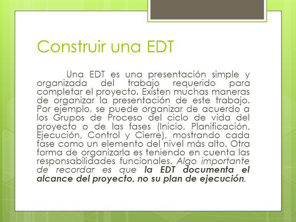 Construir una EDT Una EDT es una presentación simple y organizada del trabajo requerido para completar el proyecto. Existen muchas maneras de organiza